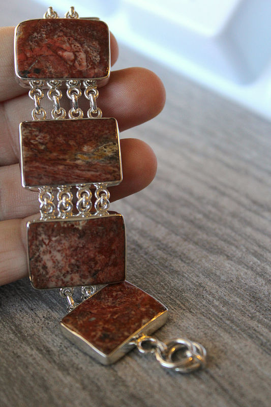 3723c9592a0 Petrified Wood Sterling Bracelet, 925 Sterling Silver Bracelet, Fossil  Wood, Brown Rectangle Stone ...