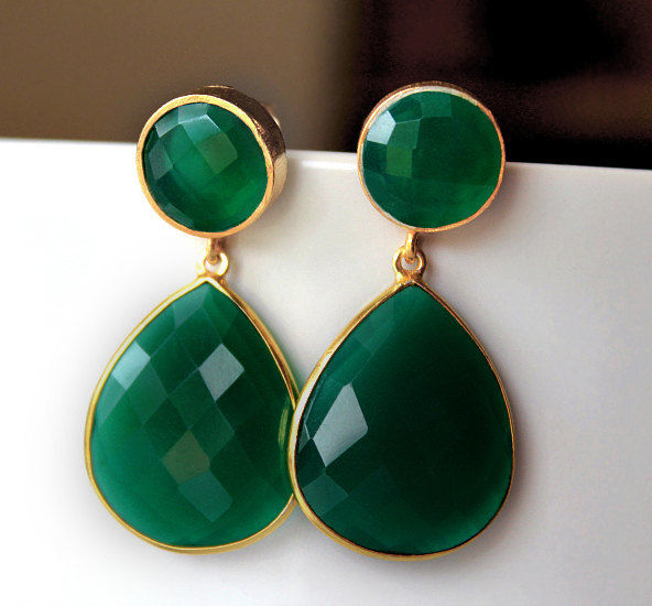 Green Onyx Double Drop Post Earrings Emerald Earring Dual Dangle Jewelry Gold Vermeil Gemstones Bygerene