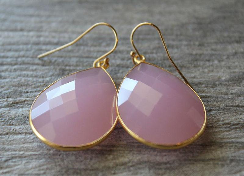Jumbo Pink Rose Drop Earrings Pink Quartz Dangle Earrings