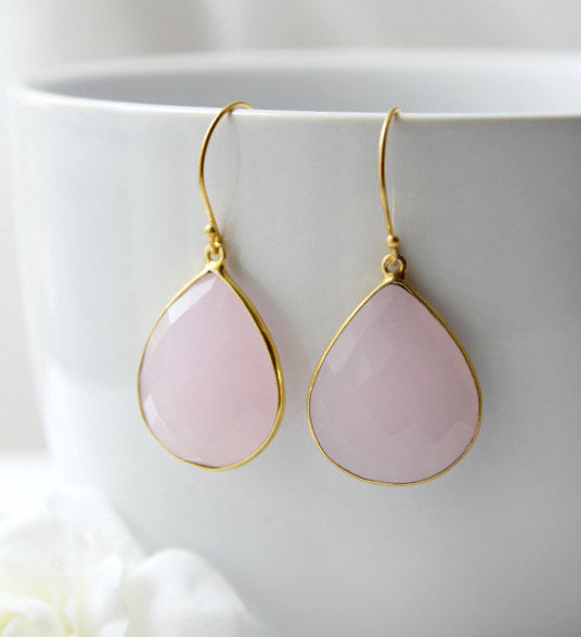 Pink Rose Quartz Drop Earrings Dangle Linen Gemstone Teardrops