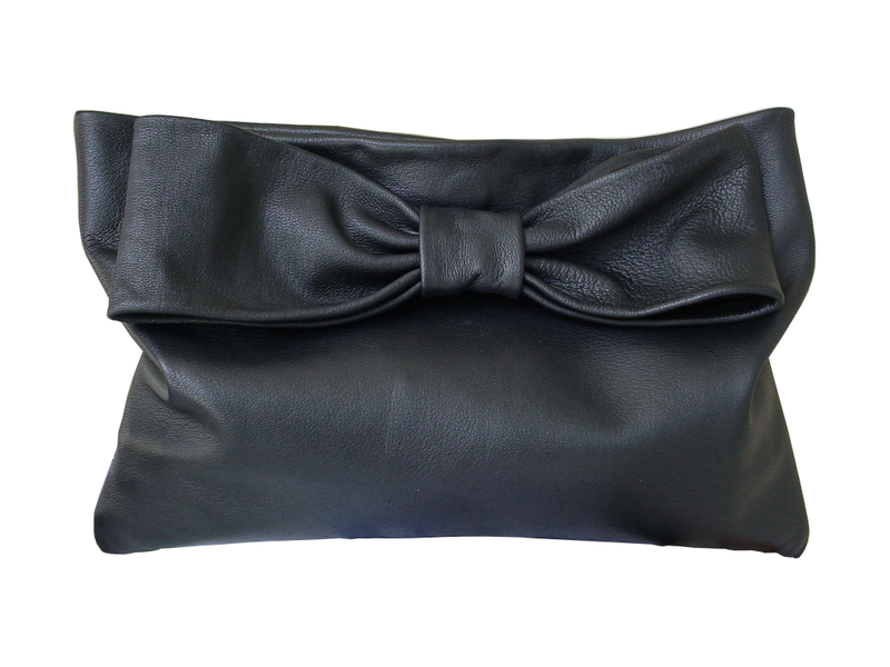 Oversize leather bow clutch 63eb93f69551