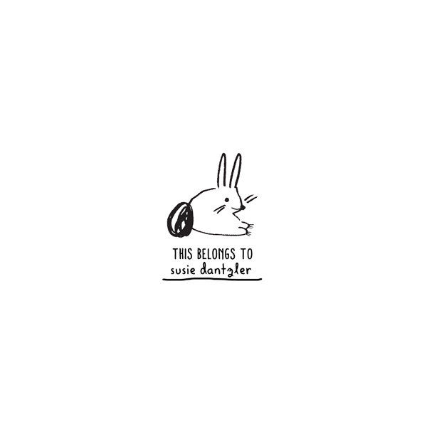 bunny personalized rubber stamp the small object