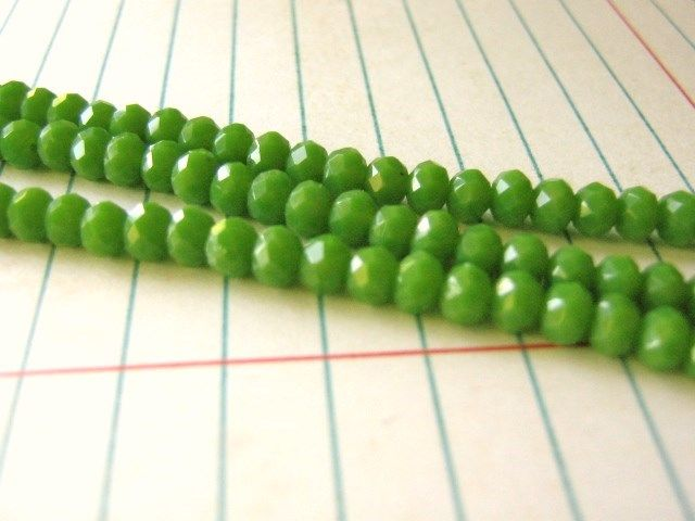 Beads Opaque Green 3x4mm Faceted Rondelle Glass Crystal