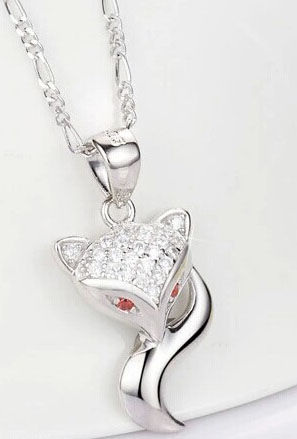 a223db5c5 925 Sterling Silver Foxy Lady Pendant Necklace 18'' with Swarovski Elements  Clear and Pink Crystals (Gift Pouch Included) - Small Island Boutique