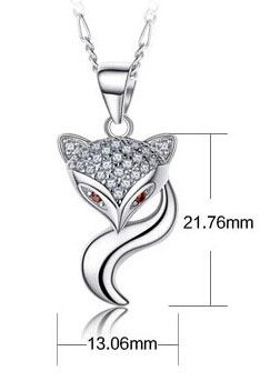 a02c69839 ... 925 Sterling Silver Foxy Lady Pendant Necklace 18'' with Swarovski  Elements Clear and Pink