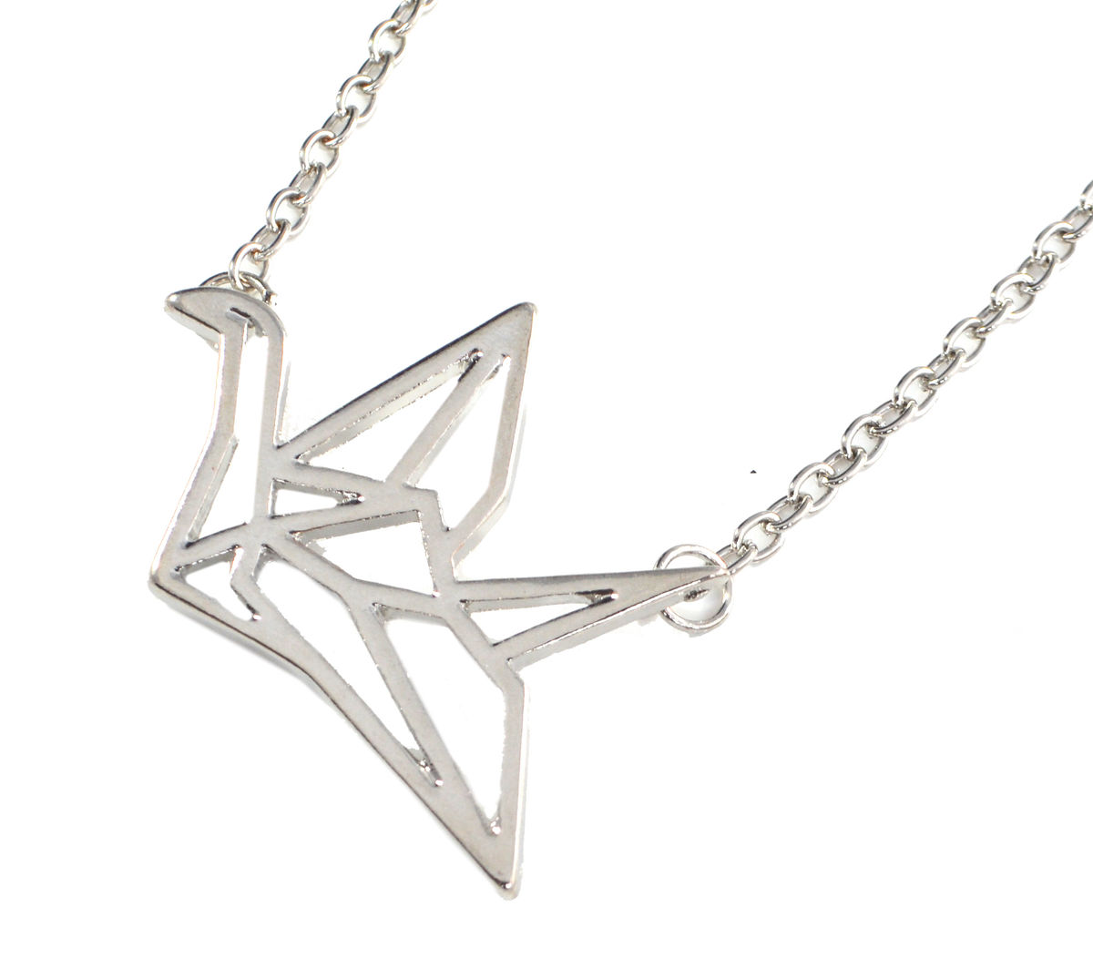 Silver Tone Origami Crane Necklace 20'' (in Organza Bag ... - photo#39