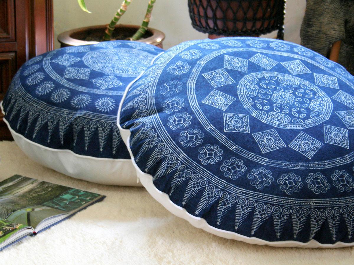 30 round floor pillow in hmong indigo batik siamese dream design. Black Bedroom Furniture Sets. Home Design Ideas