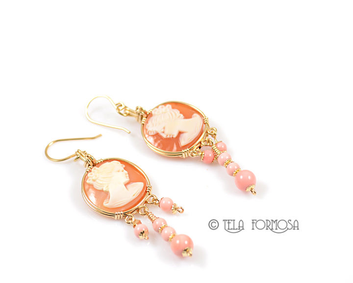 4599e3b2e Handmade Round Shell Cameo and Pink Queen Conch Earrings 14k GF Wire  Wrapped Jewelry - TelaFormosa