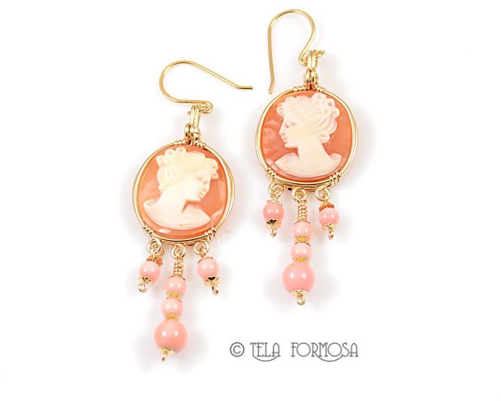 4af9e5928 Handmade Round Shell Cameo and Pink Queen Conch Earrings 14k GF Wire  Wrapped Jewelry