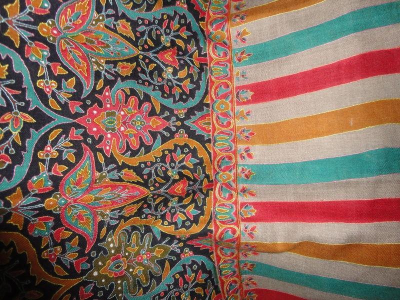 Printed Kani Design Hand Embroidered Handwoven Pashmina