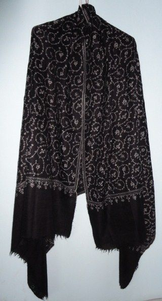 5939a9708b Pure Pashmina Shawl in Black Hand Woven Hand Embroidered Jaal - Classic  series - product image