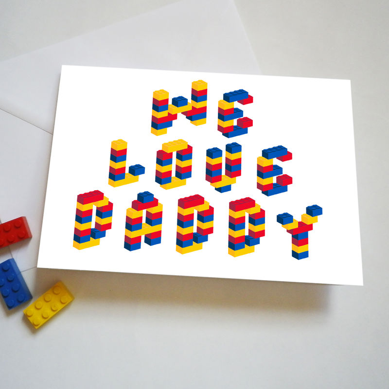 Personalised Building Brick Fathers Day Or Birthday Card