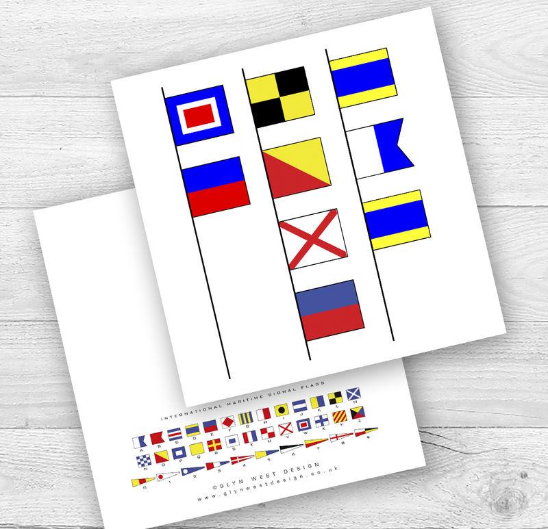 Signal Flags I Or We Love Dad Birthday Card