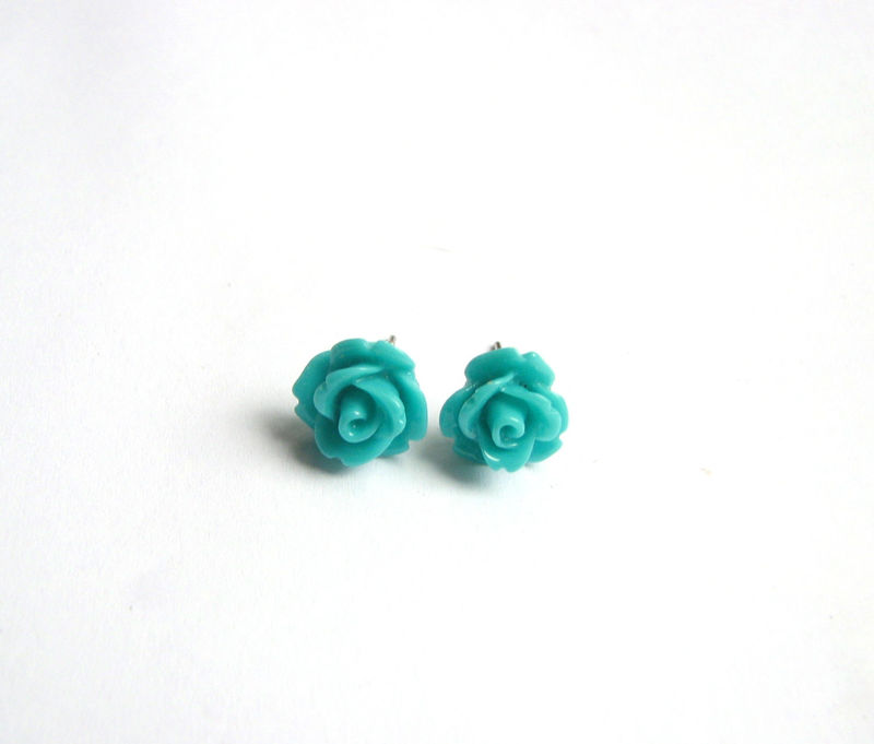 Teal Blue Rose Stud Earrings Cute Flower Jewelry Jpg Product Images Of