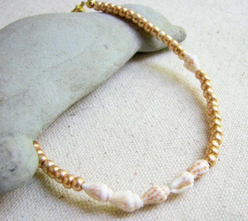 98a7402672154 Gold Beaded Seashell Anklet, Beach Wedding Jewelry