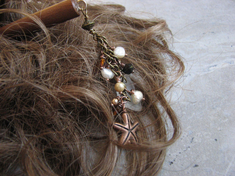 Beaded Sea Glass Hair Stick With Starfish Decorative