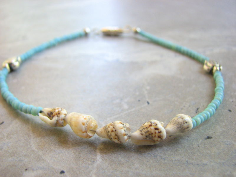 3d212ee61 Turquoise and Shell, Sea Turtle Ankle Bracelet - Bits off the Beach