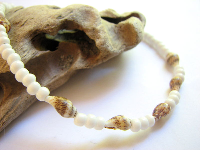 7303619ad White Beaded Sea Shell Ankle Bracelet