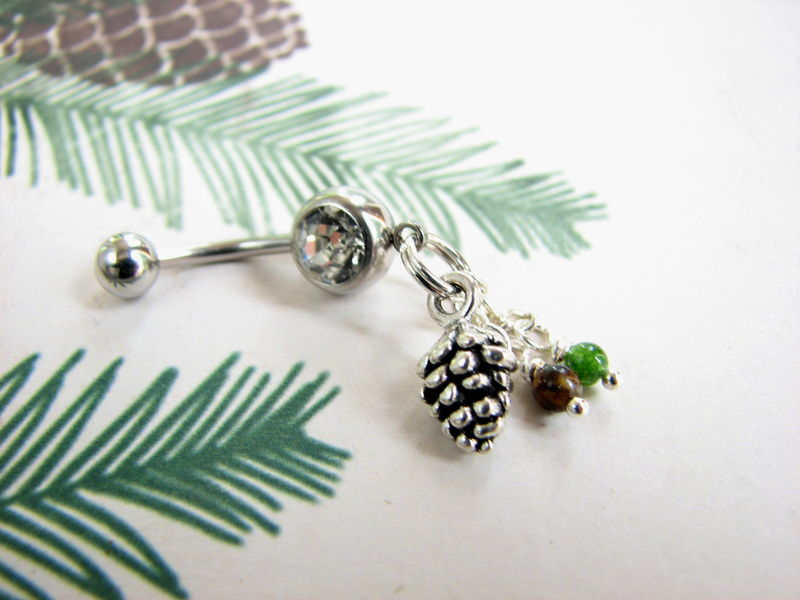 Silver Pine Cone Belly Button Ring With Jade And Tiger Eye
