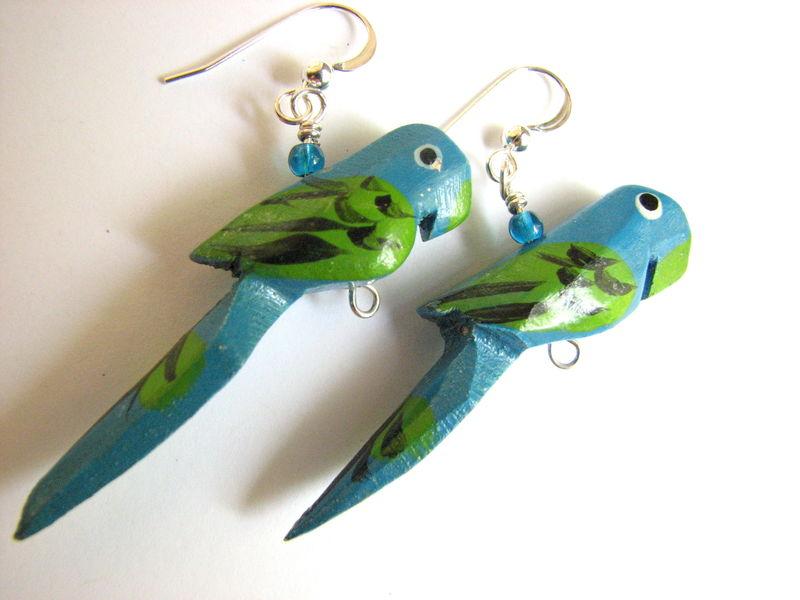 Wooden Parrot Earrings With Sterling Silver Bits Off The