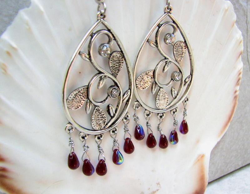 Convertable Earrings Transformable Jewelry Clever Earrings Dangle Earrings Drop Earrings Teardrop Earrings in Burgundy and Beige