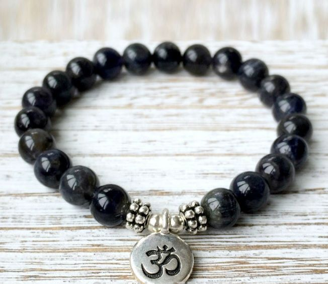 Black Onyx Om Charm Bracelet Strength Energy Everyday A Mala