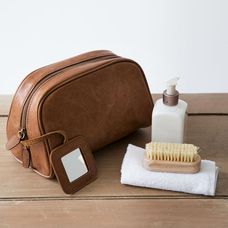 df36e2af717b Tan Rugged Leather Toiletry Bag - Simply Special Gifts
