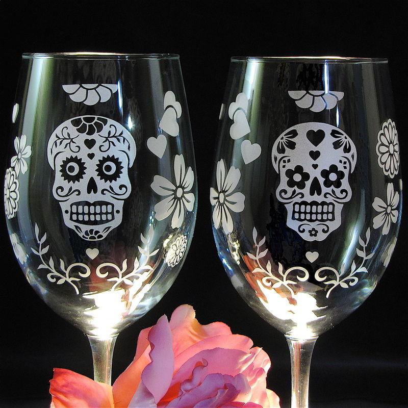 Day Of The Dead Wine Glasses Dia De Los Muertos Wine Glasses Skull Decor For Weddings
