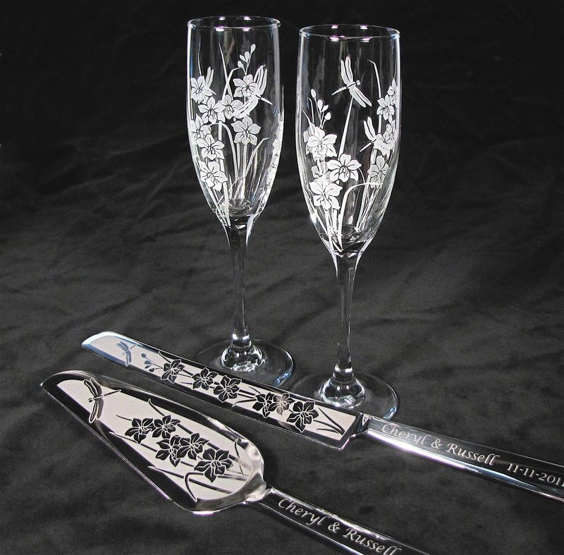 orchid and dragonfly wedding set champagne glasses cake server and knife personalized the. Black Bedroom Furniture Sets. Home Design Ideas