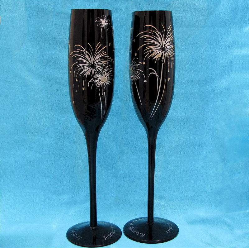 Midnight Black Champagne Flutes Fireworks Themed For New
