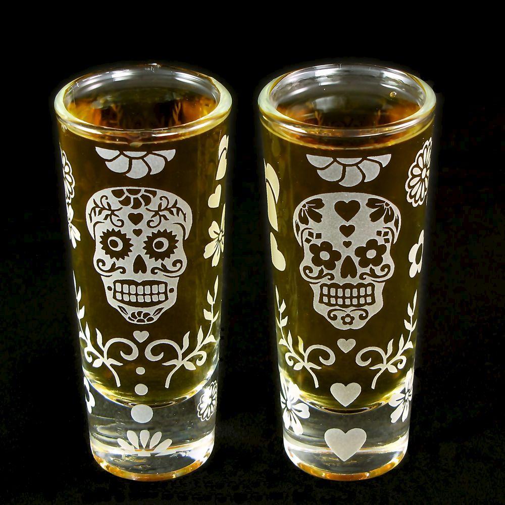 Dia De Los Muertos Wedding Theme Ideas: 2 Dia De Los Muertos Shot Glasses, Groomsmen Gift Ideas