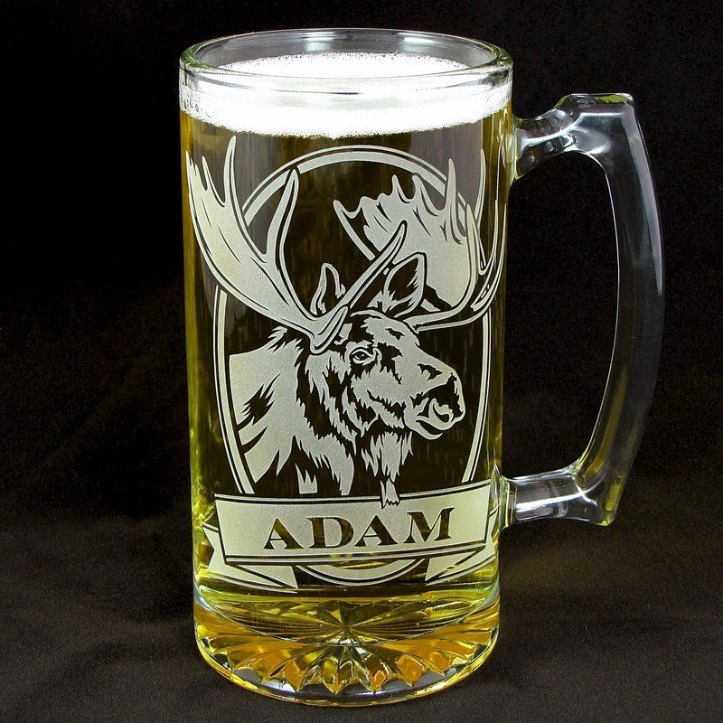 Etched Glass Wedding Gifts: Personalized Moose Beer Stein, Etched Glass, Gifts For