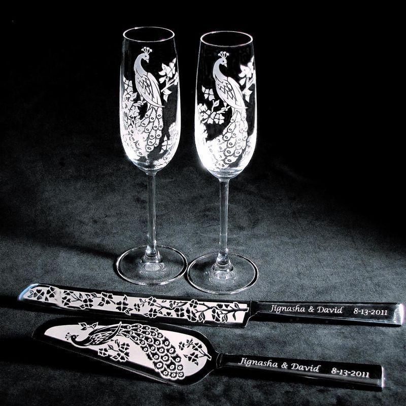 Engraved Wedding Flutes And Cake Server Sets