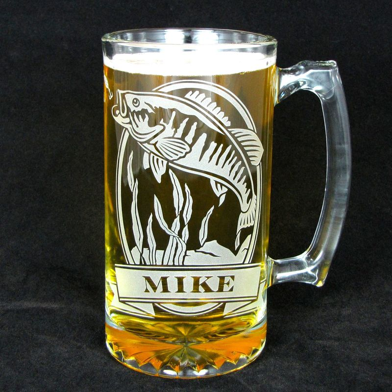 1 Personalized Fish Beer Mug Etched Glass Trout