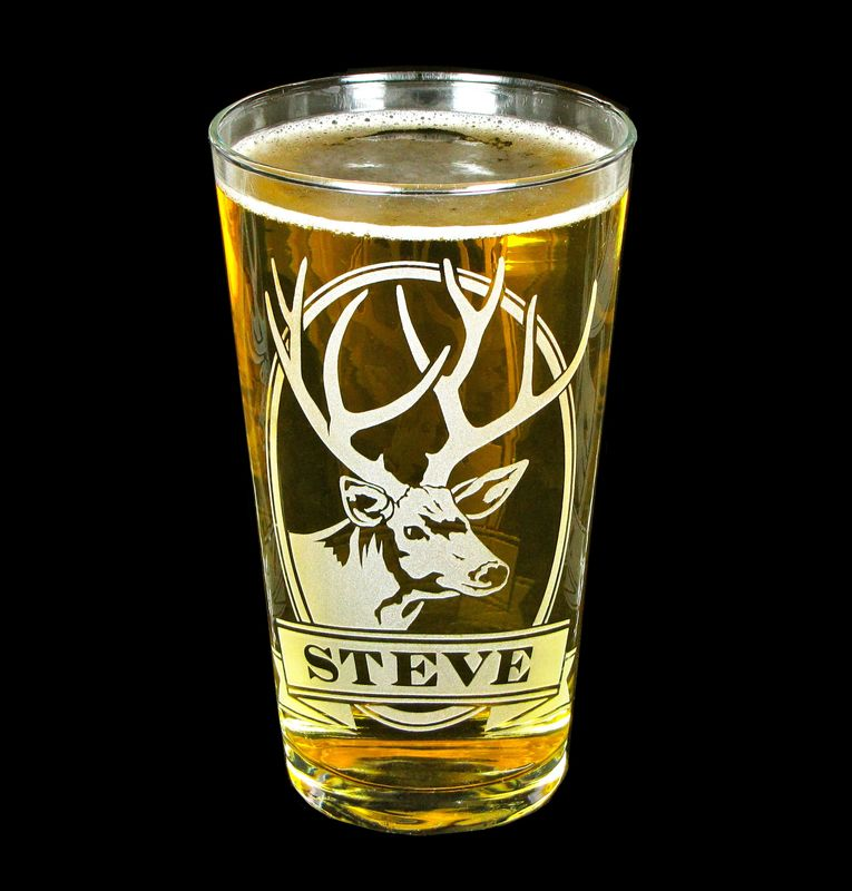 1 personalized beer glass with deer etched glass pint glass gift