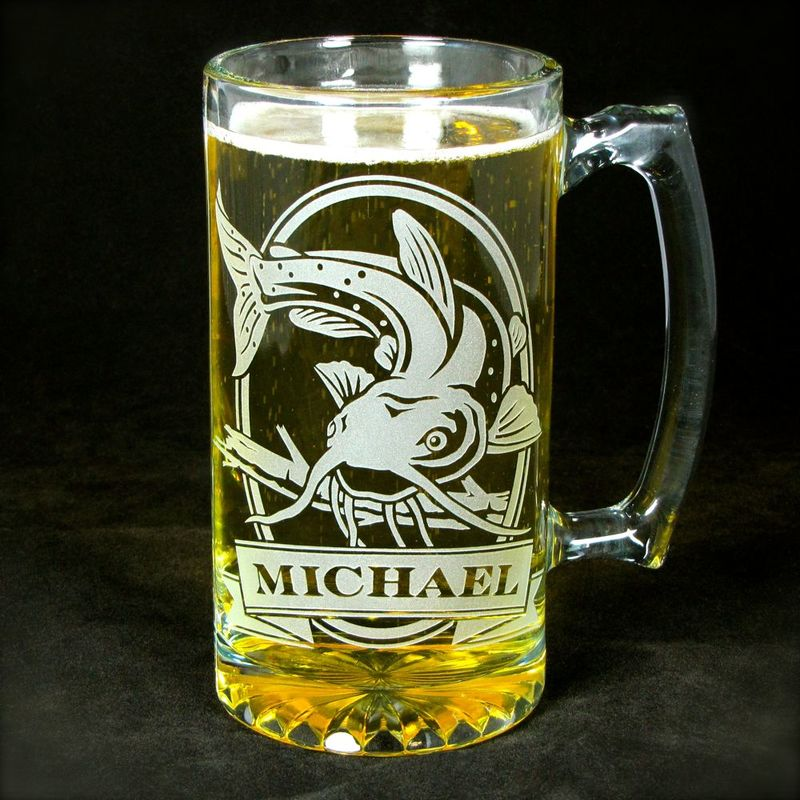 Personalized Elk Beer Stein, Etched Glass, Gift For Groom