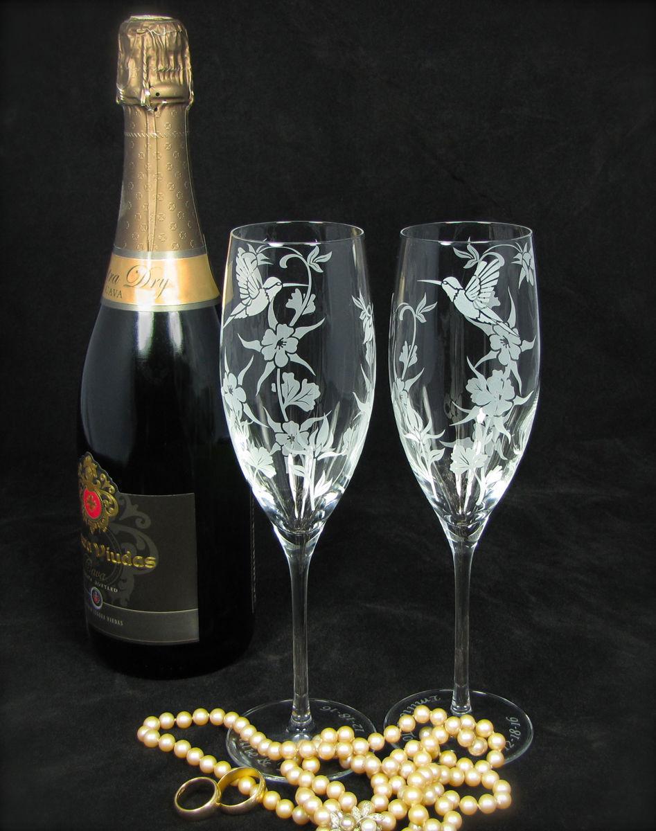 New Hummingbird Columbine Champagne Glasses Wedding Gift