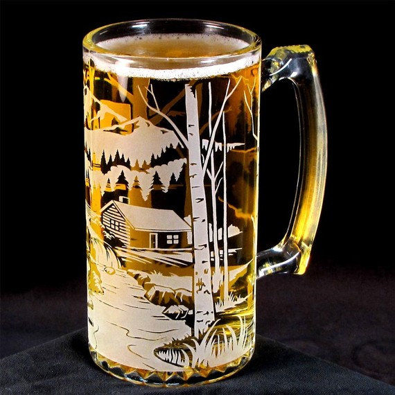 Etched Glass Beer Mug Bear Mountain Groomsmen Gifts For
