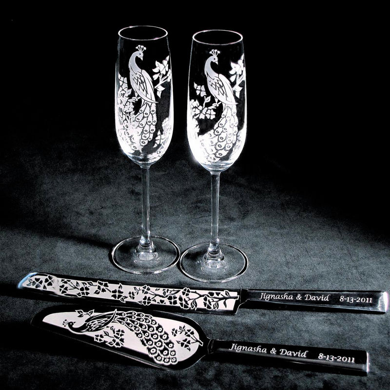 Pea Wedding Cake Server And Knife Champagne Flute Set Personalized Engraved Product Images