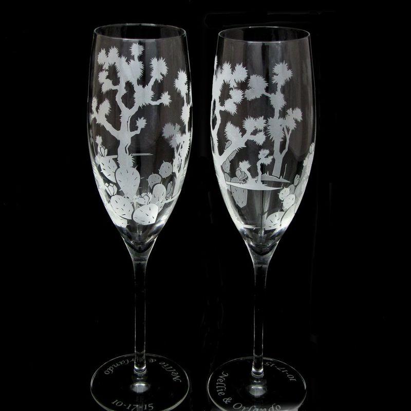 personalized joshua tree wedding cake server and champagne flute set desert wedding the. Black Bedroom Furniture Sets. Home Design Ideas