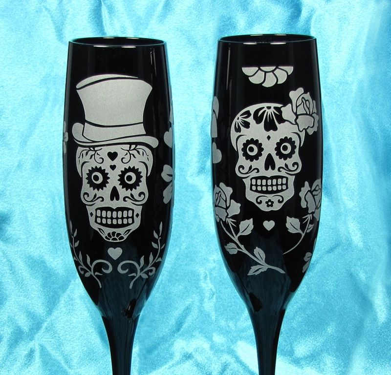 dad6cb9ba8f Sugar Skull Wedding Cake Server Set and Champagne Glasses, Day of the Dead  - Brad Goodell Weddings
