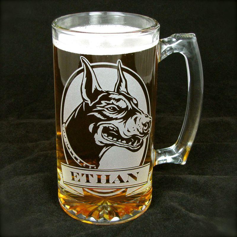 1 Personalized Labrador Retriever Beer Mug Etched Glass