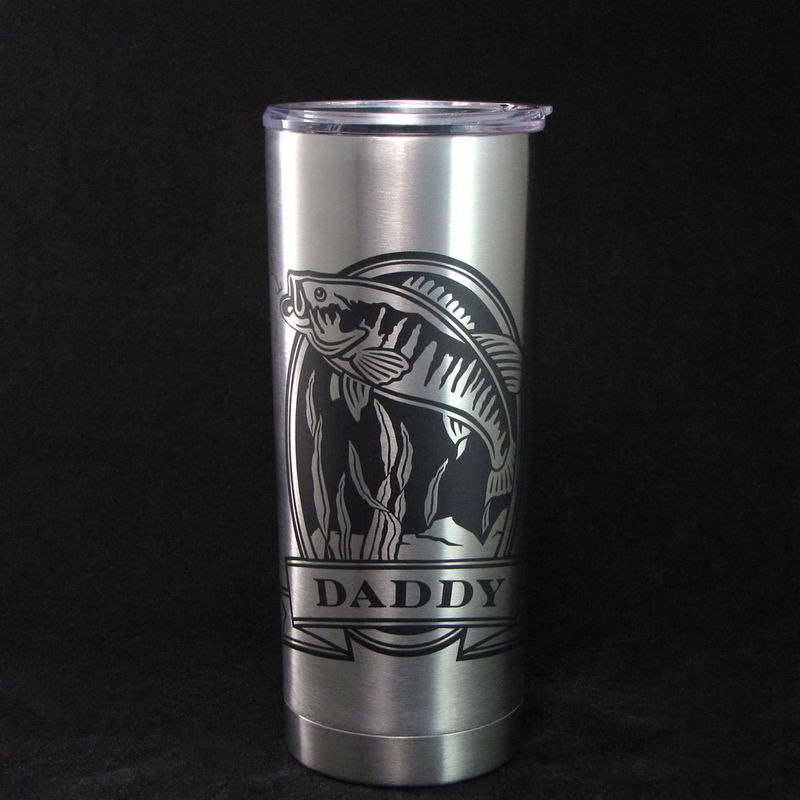 1 Personalized Insulated Cup Bass Fishing Gift Stainless