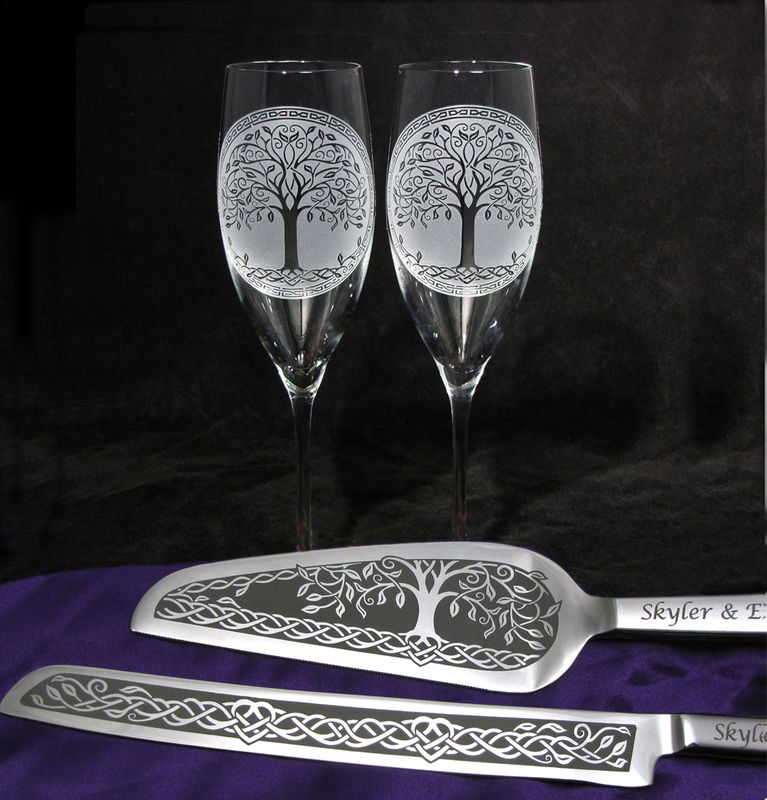 Celtic Tree Of Life Wedding Cake Server And Champagne