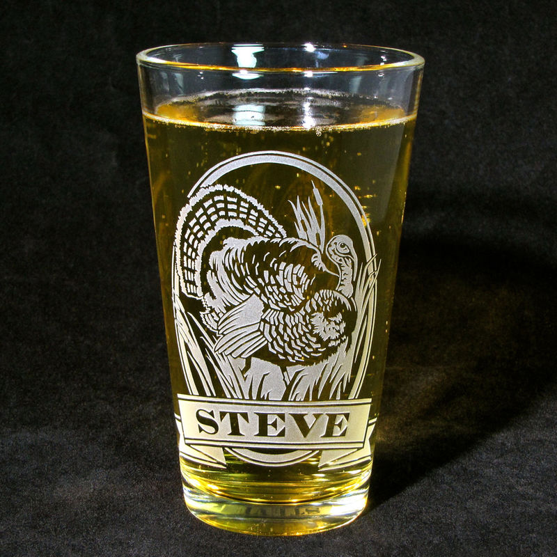 1 personalized beer glass with wild turkey etched glass pint glass