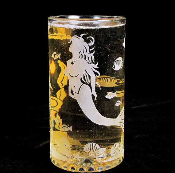 Mermaid Beer Stein, Etched Glass Mermaid And Underwater