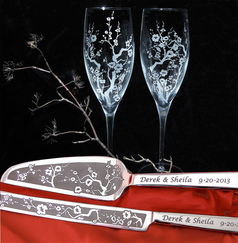 personalized cherry blossom wedding cake server and champagne flute set the wedding gallery by. Black Bedroom Furniture Sets. Home Design Ideas