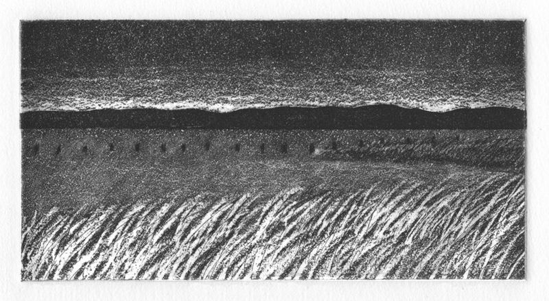 Beach etching aquatint southport connecticut seascape art print black and white william lee holt works on paper