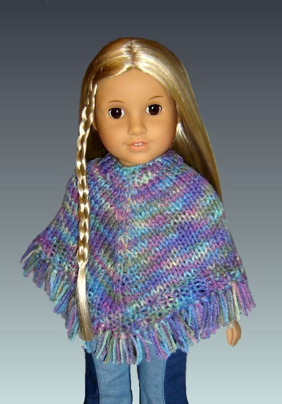 Doll Poncho Pattern. Knitting, Fits American Girl and 18 ...