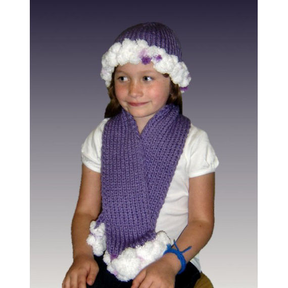 Pdf Knitting Pattern Pompom Hat And Scarf Girls And American Girl